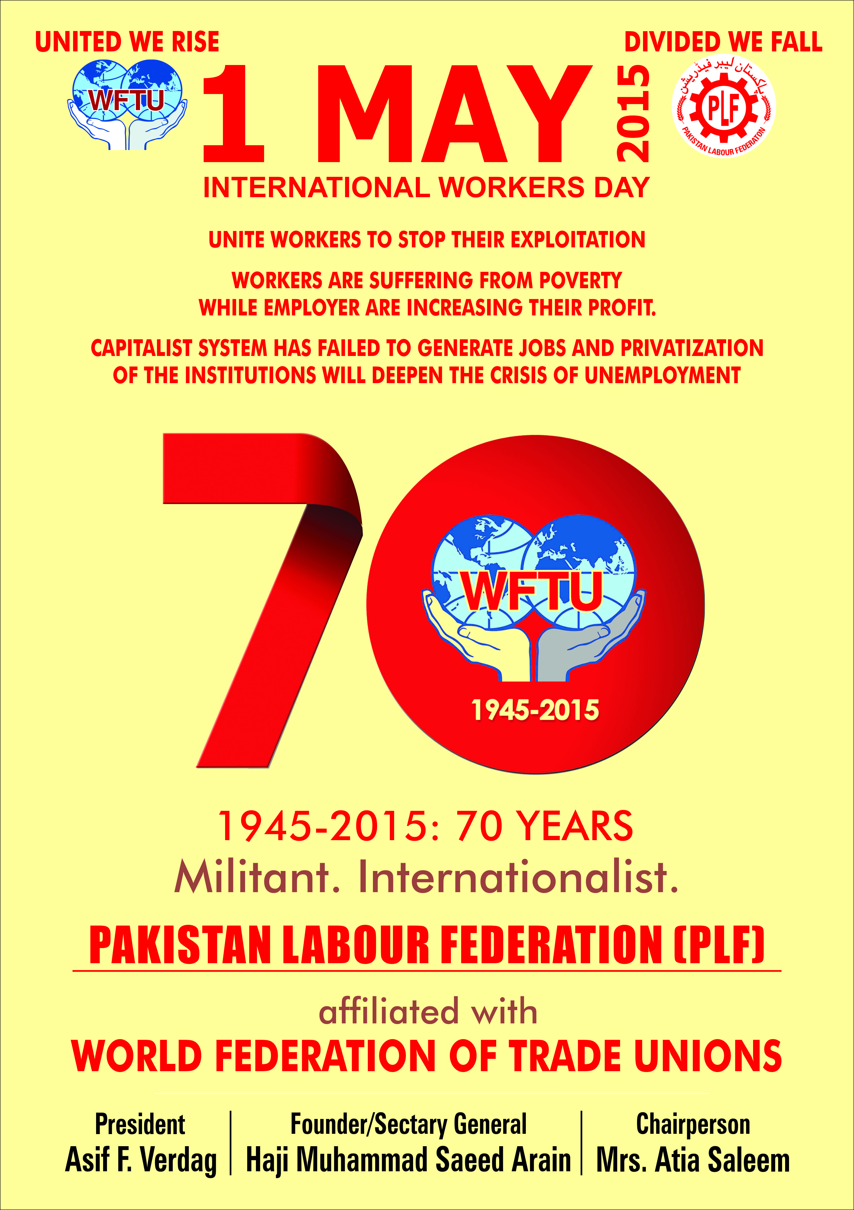 WFTU » Pakistan: May Day Poster of PLF released