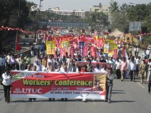 WFTU Representative at the 20th AITUC Congress Rally