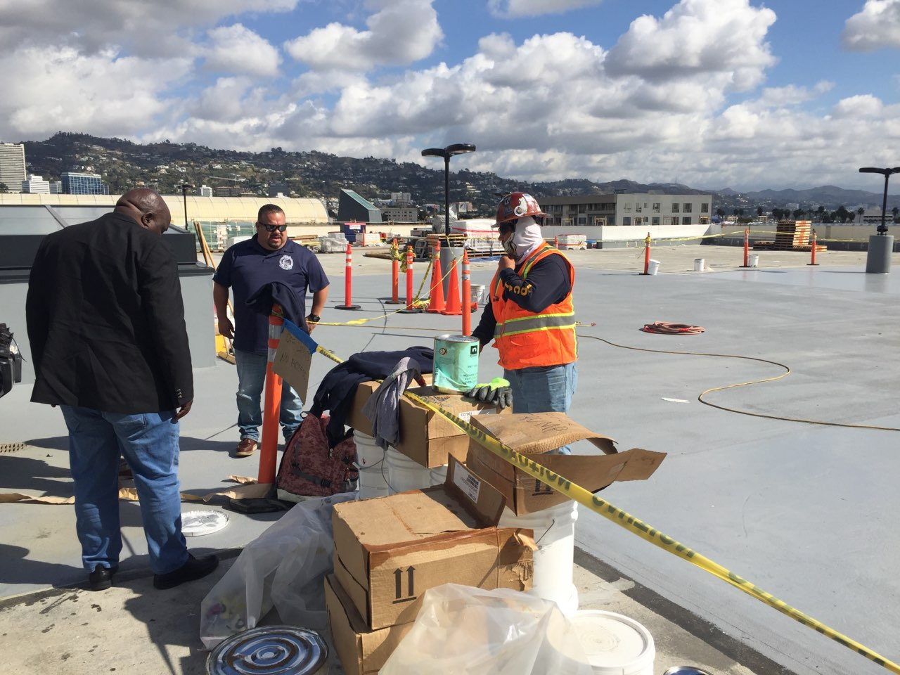 Wftu Usa Inspection Of Workplaces Roofing And Waterproofing By The Wftu President And Members Of Roofers Local 36 In Beverly Hills La